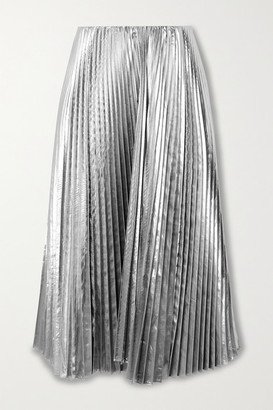 Balenciaga Pleated Lame Midi Skirt - Silver
