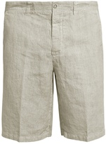 120% Lino 120 LINO Mid-rise slim-leg striped linen shorts
