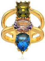 Nicole Miller Gypset Mixed Three Stone Gold Ring, Size 7