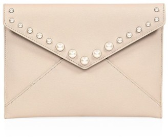 Rebecca Minkoff Leo Faux Pearl-Embellished Leather Envelope Clutch