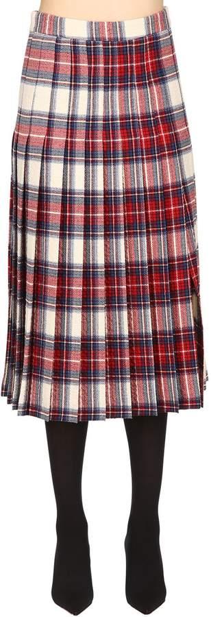 Moschino Wool Plaid Kilt Skirt