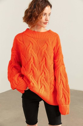 J.ING Cisley Orange Cable Knit Sweater