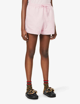 Ganni Isoli brand-embroidered organic cotton and recycled-polyester-blend shorts