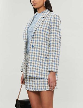Sandro Houndstooth-patterned tweed blazer