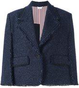 Thom Browne raw edge cape style cropped jacket