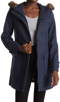 Pendleton Portland Wool Blend & Genuine Raccoon Fur Trim Duffle Coat