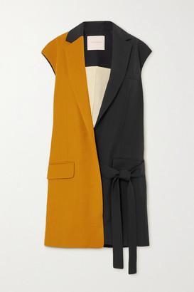 Roksanda Paola Belted Two-tone Grain De Poudre And Twill Vest - Orange