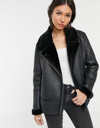 New Look aviator jacket in black