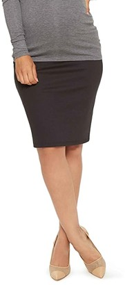 Stowaway Collection Maternity Maternity Straight Skirt (Black) Women's Skirt