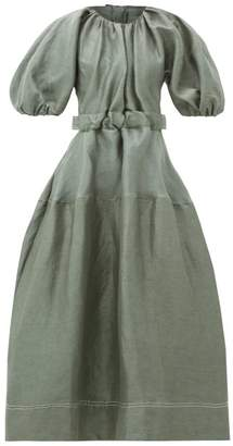 Aje - Paperbark Cut-out Linen-blend Satin Dress - Womens - Khaki