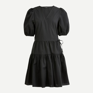 J.Crew Puff-sleeve cotton poplin wrap dress