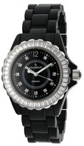 Peugeot Women's PS4885BK Swiss Ceramic Swarovski Crystal Black Dial Watch