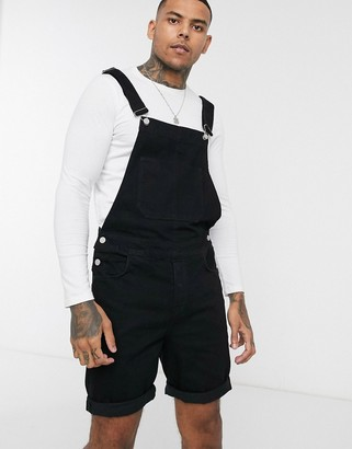 ASOS DESIGN Short Dungaree in Black