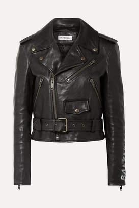 Balenciaga Printed Textured-leather Biker Jacket - Black