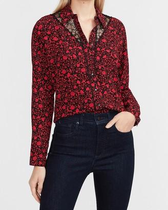 Express Floral Lace Trim Portofino Shirt