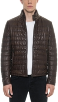Forzieri Dark Brown Quilted Leather Men's Jacket