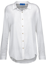 MiH Jeans Flight Pleated Crinkled Cotton-Gauze Shirt