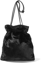 Miu Miu Suede-trimmed Velvet Clutch - Black
