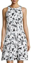Maggy London Floral Sleeveless Fit-&-Flare Dress, Black/Soft White