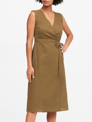 Banana Republic Petite Linen-Cotton Wrap Dress