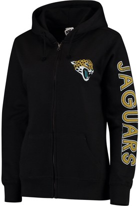 Women's Black Jacksonville Jaguars Extra Point Two-Hit Full-Zip Hoodie