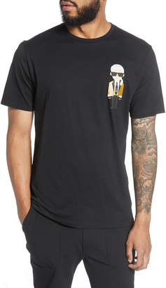 Karl Lagerfeld Paris Regular Fit Metallic Gold Blazer Graphic Cotton T-Shirt