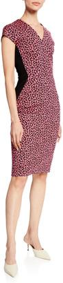 Escada V-Neck Cap-Sleeve Mini Daisy Print Dress