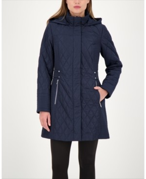 Jones New York Hooded Quilted Water-Resistant Coat