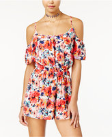 One Clothing Juniors' Printed Cold-Shoulder Romper