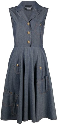 Boutique Moschino Denim Pinafore Midi Dress