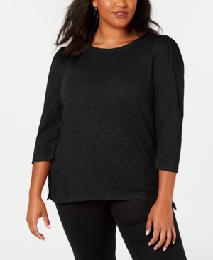 INC International Concepts Inc Plus Size Cotton Puff-Sleeve Top, Created for Macy's