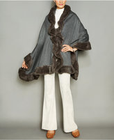 The Fur Vault Knitted Mink-Fur-Trim Wool-Blend Cape