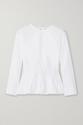 Marni Embroidered Cotton-poplin Blouse - White