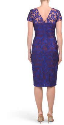 Short Sleeve Illusion Soutache Dress