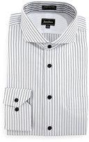 Neiman Marcus Classic-Fit Wrinkle-Free Dobby Stripe Dress Shirt, Black/White