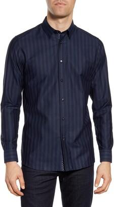 Ted Baker Slim Fit Dot Stripe Button-Up Shirt