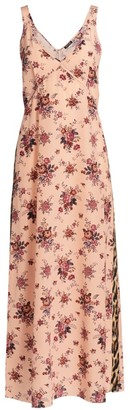 R 13 Floral & Leopard Trim Slip Dress