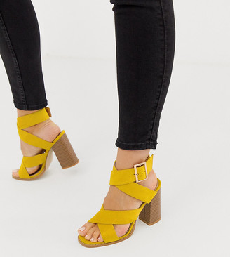 RAID Wide Fit Abree bright yellow stacked heel sandals
