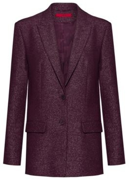 HUGO Regular-fit single-breasted jacket in sparkling fabric