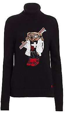 Ralph Lauren Women's Ski Bear Cashmere Turtleneck Sweater