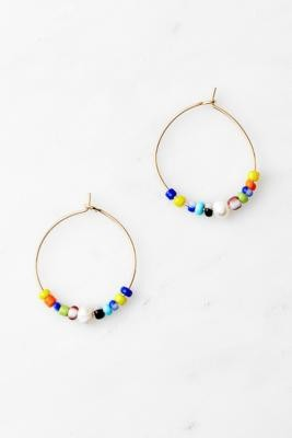 Urban Outfitters Gold-Tone Beaded Hoop Earrings - Assorted ALL at