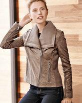 Neiman Marcus Textured Leather Moto Jacket