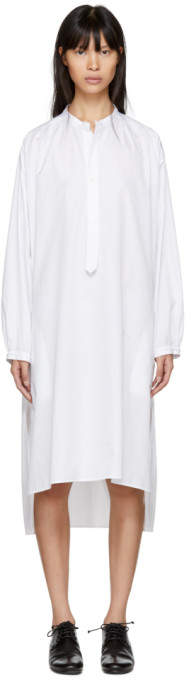 Y's Ys White Long Shirt Dress