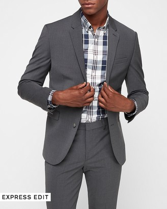 Express Extra Slim Charcoal Wool-Blend Performance Suit Jacket