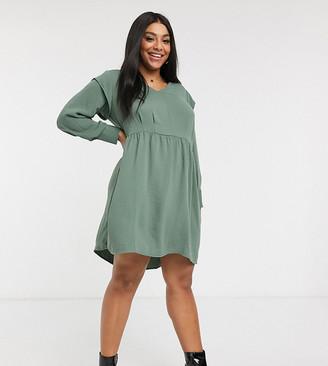Vero Moda Curve mini dress with frill sleeve detail in khaki