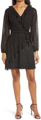 Julia Jordan Metallic Dot Faux Wrap Long Sleeve Dress