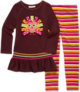 Bonnie Jean 2-pc. Ribbon Turkey Top and Leggings Set - Preschool Girls 4-6x