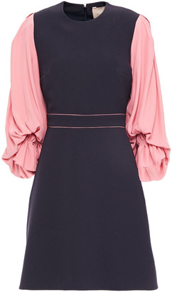 Roksanda Gathered Two-tone Crepe Mini Dress