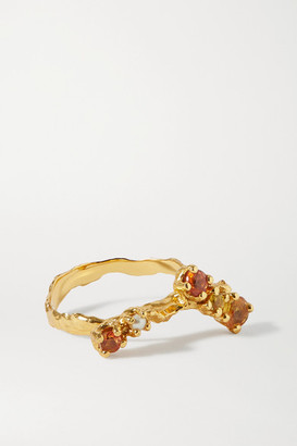 PACHAREE Bloom Gold-plated, Sapphire And Pearl Ring - 50