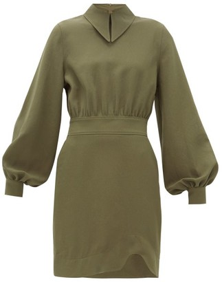 Ganni Point-collar Crepe Mini Dress - Womens - Khaki